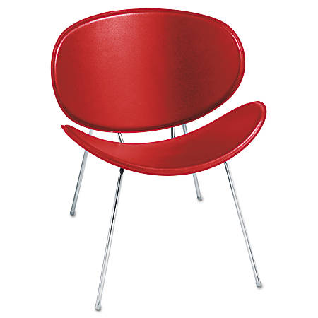 Safco® Sy™ Leather Guest Chair, Red/Chrome