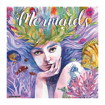 "Willow Creek Press Art & Design Monthly Wall Calendars, 12"" x 12"", Mermaids, January To December 2020"