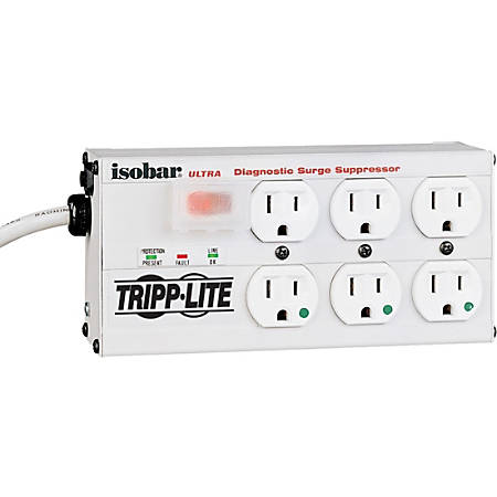 Tripp Lite Isobar® Ultra 6-Outlet Diagnostic Surge Suppressor, 15' Cord, Gray
