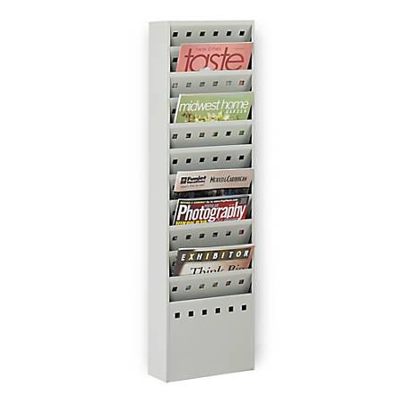 Safco® 11-Pocket Steel Magazine Rack, Gray