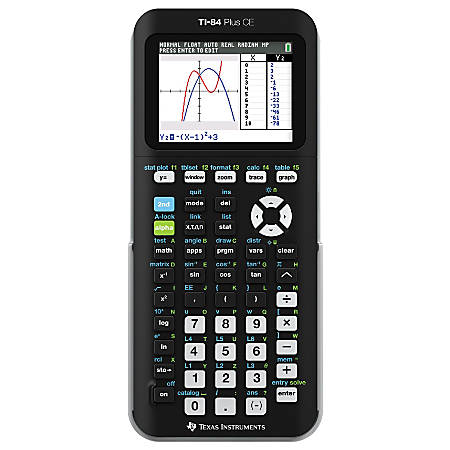 Ti-84 plus ce graphing calculator available in 9 fun colors.