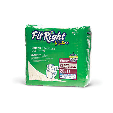 FitRight Restore Briefs, X-Large, Yellow, Bag Of 20