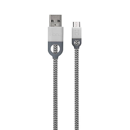 iHome Double-Injected Nylon Micro USB Charger & Sync Cable With Enhanced Strain Relief, 5', White, IH-CT2052W