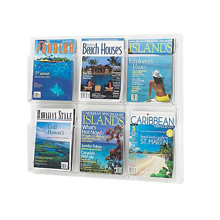 Clear Literature Rack, Magazine, 6 Pockets