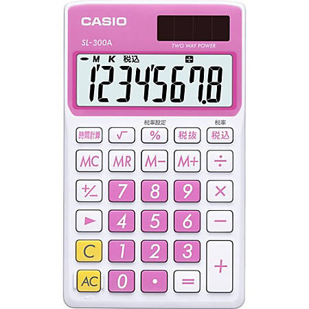 Casio SL-300VC Portable Calculator - 8 Digits - Battery/Solar Powered - Sweet Pink
