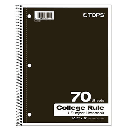 """TOPS® Notebook, 8"""" x 10 1/2"""", 1-Subject, College Ruled, 140 Pages (70 Sheets), Assorted Colors"""