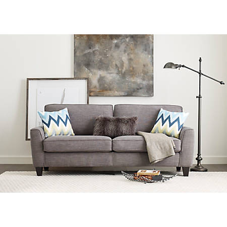 "Serta Astoria Deep-Seating Sofa, 73"", Light Gray/Espresso"