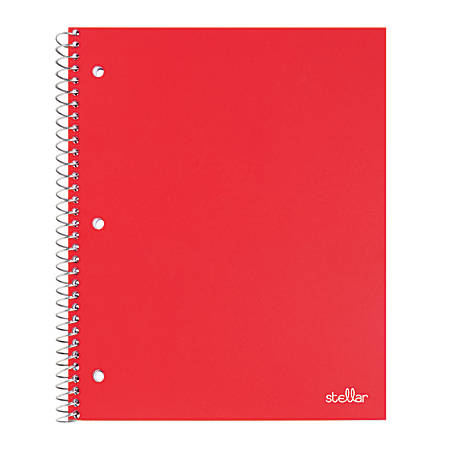 "Office Depot® Brand Stellar Poly Notebook, 8"" x 10 1/2"", 1 Subject, Wide Ruled, 200 Pages (100 Sheets), Red"