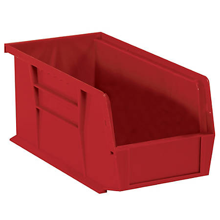 "Office Depot® Brand Plastic Stack And Hang Bin Boxes, 14 3/4"" x 8 1/4"" x 7"", Red, Pack Of 12"