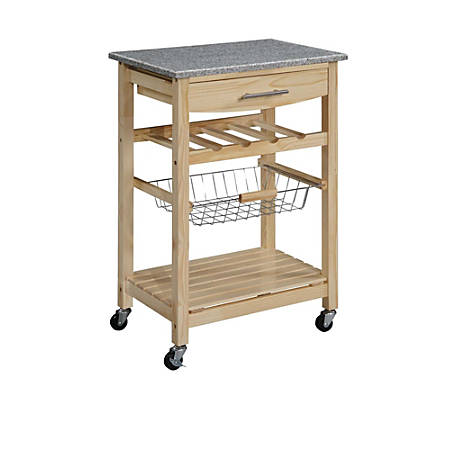 Linon Home Décor Products Canton Granite Top Kitchen Cart, Natural