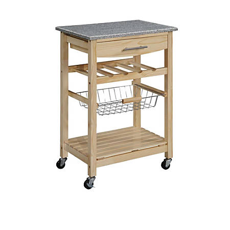 "Linon Home Decor 1-Drawer Kitchen Island Cart, With Granite Top, 34""H x 23""W x 16""D"