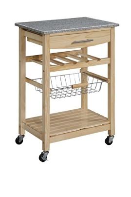 Linon Home Decor 1-Drawer Kitchen Island Cart, With Granite Top, 34\