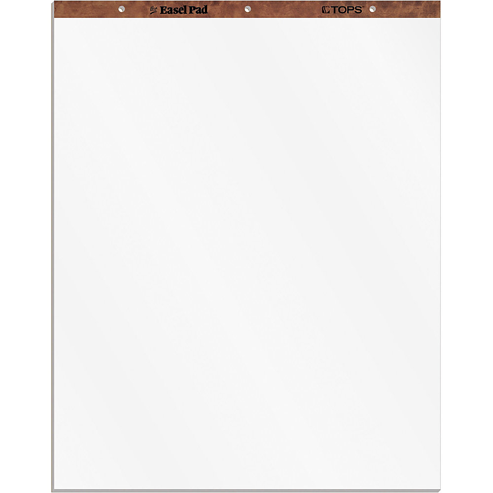 """TOPS Plain Paper Easel Pads - 50 Sheets - Plain - 16 lb Basis Weight - 27"""" x 34"""" - White Paper - Perforated, Bond Paper, Leatherette Head Strip - 2 /"""