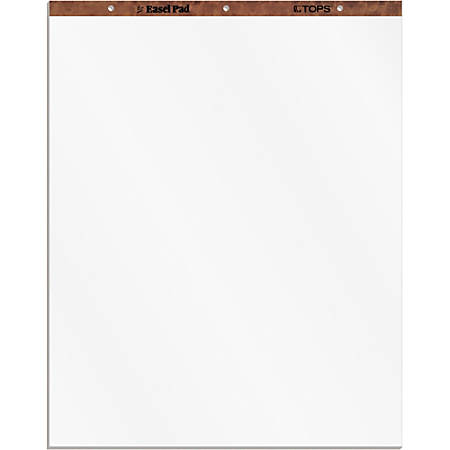 """TOPS Plain Paper Easel Pads - 50 Sheets - Plain - 16 lb Basis Weight - 27"""" x 34"""" - White Paper - Perforated, Bond Paper, Leatherette Head Strip - 2 / Carton"""
