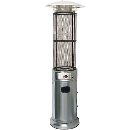 Hanover Patio Heater With Glass Flame Display, Stainless Steel