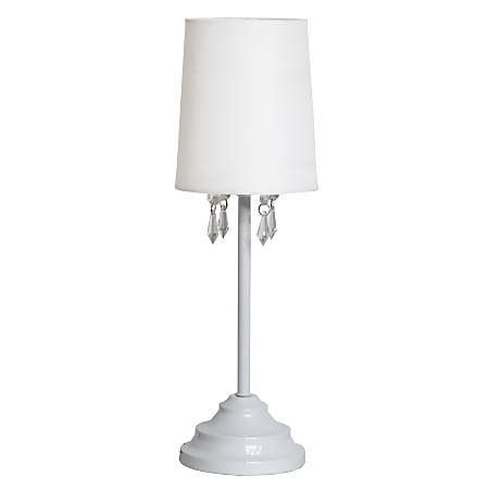 """Simple Designs Table Lamp, 16 5/8""""H, White Shade/White Base"""