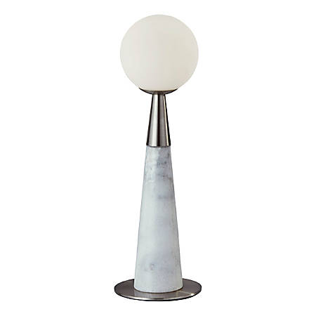 "Adesso® Pearl LED Accent Lamp, 13-1/2""H, White Opal Shade/White-Marble And Brushed-Steel Base"