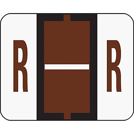 Smead® BCCR Bar-Style Permanent Alphabetical Labels, R, Brown, Roll Of 500