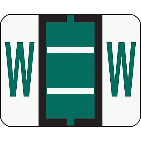 Smead® BCCR Bar-Style Permanent Alphabetical Labels, W, Dark Green, Roll Of 500