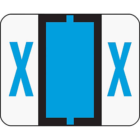 Smead® BCCR Bar-Style Permanent Alphabetical Labels, X, Blue, Roll Of 500