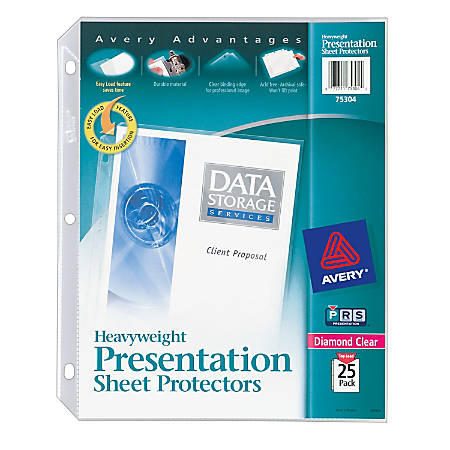 "Avery® Heavyweight Top-Load Sheet Protectors, 8 1/2"" x 11"", Diamond Clear, Pack Of 25"