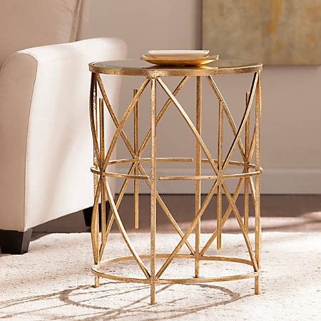 Southern Enterprises Starina Accent Table, Round, Antique Gold