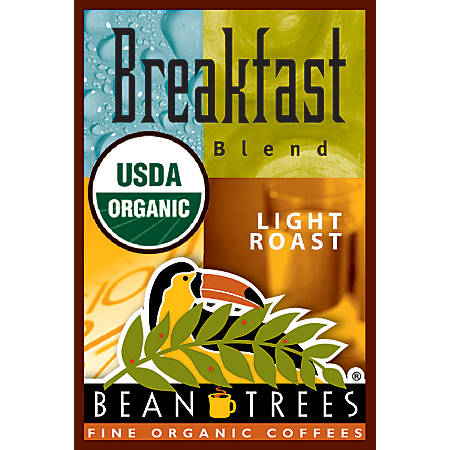 Beantrees Organic Breakfast Blend Whole Bean Coffee, 12 Oz Bag