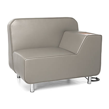 OFM Serenity Series Left Arm Lounge Chair With AC Outlet And USB Port, Taupe/Chrome