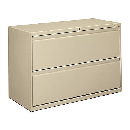 "HON® 800 42""W Lateral 2-Drawer File Cabinet With Lock, Metal, Putty"