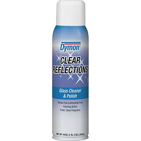 Dymon Clear Reflections Aerosol Glass Cleaner - Aerosol - 0.16 gal (20 fl oz) - 12 / Carton - Blue, Silver, Crystal Clear