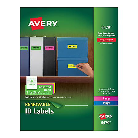 "Avery® Removable Laser/Inkjet Organization Labels, AVE6479, 1"" x 2 5/8"", Assorted Colors, Pack Of 360"