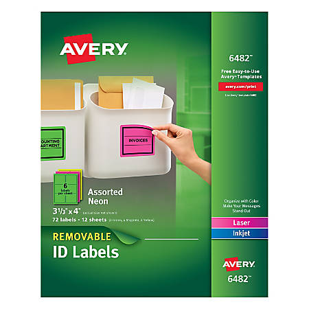 """Avery® Removable Laser/Inkjet Organization Labels, AVE6482, 3 1/3"""" x 4"""", Assorted Colors, Pack Of 72"""