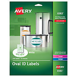 Avery White Oval Labels Permanent Adhesive