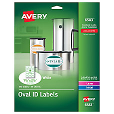 Avery White Oval Labels AVE6583 Permanent