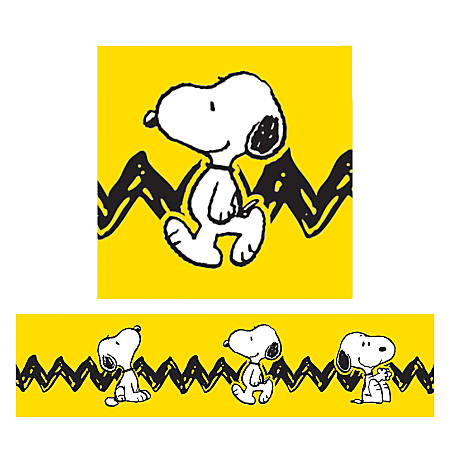 Eureka Deco Trim® Strips, Peanuts® With Snoopy, Assorted Colors, Pre-K - Grade 6, Pack Of 12