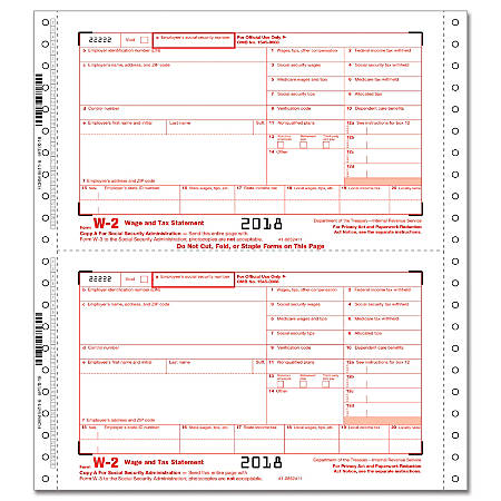 ComplyRight™ W-2 Continuous Tax Forms, Employee Copies A/B/C/2 And Employer Copies 1/D, 6-Part, Pack Of 100 Forms