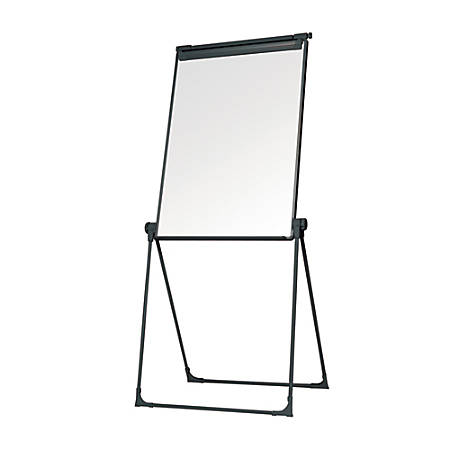 MasterVision® Magnetic Gold Ultra™ Footbar Folds-To-A-Table Easel, Steel, Black