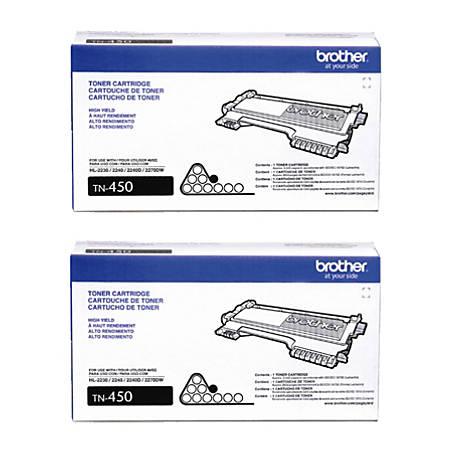 Brother® TN-450 High-Yield Black Toner Cartridges, Pack Of 2 Cartridges