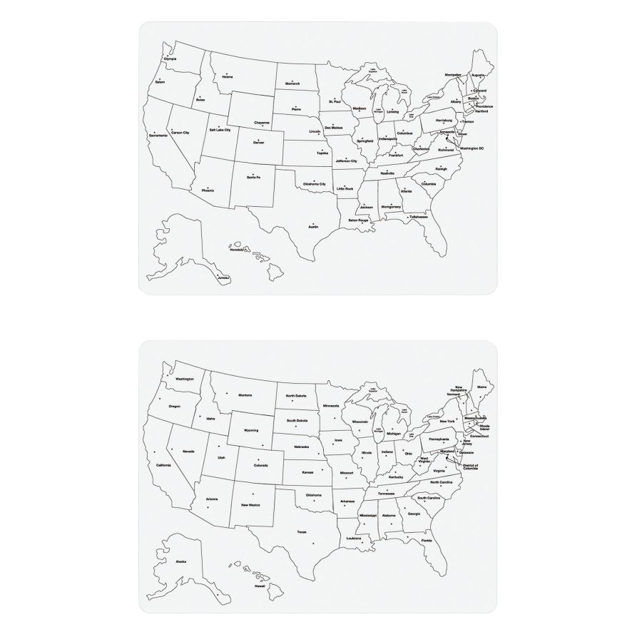 Creativity Street 2 Sided US Map Dry Erase White Board 24 x 18