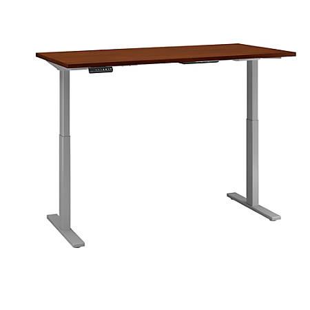 "Bush Business Furniture Move 60 Series 72""W x 30""D Height Adjustable Standing Desk, Hansen Cherry/Cool Gray Metallic, Premium Installation"