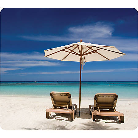 """Fellowes Recycled Mouse Pad - Beach Chairs - 8"""" x 9"""" x 0.1"""" Dimension - Multicolor - Rubber Base - Skid Proof"""