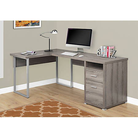 Monarch Specialties L Shaped Computer Desk With 2 Drawers