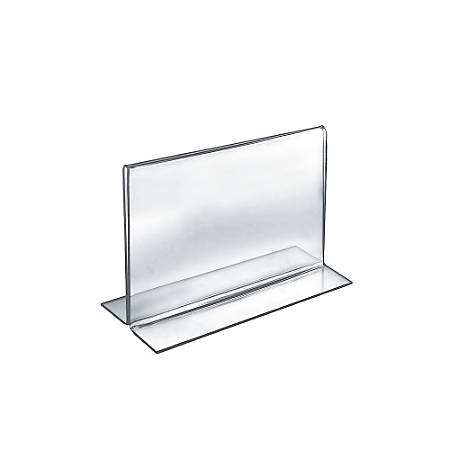 Azar Displays Double Foot Acrylic Sign Holders 8 X 10 Clear Pack Of