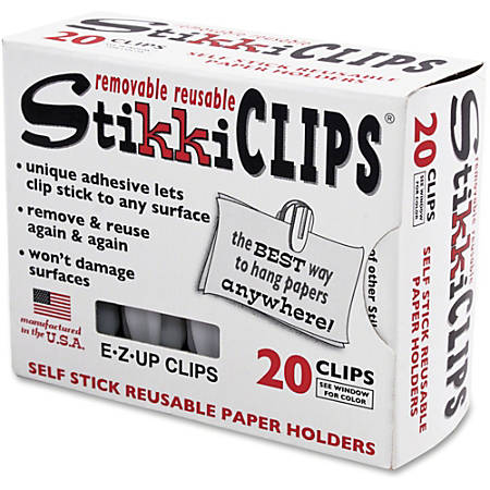 Advantus StikkiClips Adhesive Clips - for Paper, Notes, List, Artwork, Project, Schedule - 20 / Pack - White