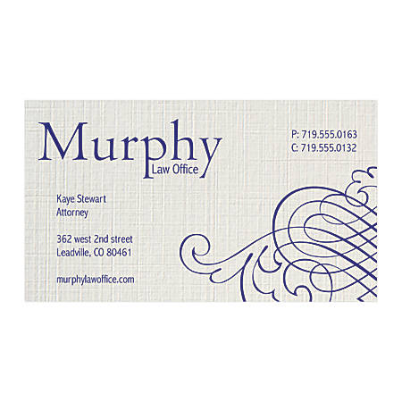 """Custom 1-Color Raised Print Business Cards, 1-Side, 3-1/2"""" x 2"""", Gray Linen, Pack Of 250 Cards"""