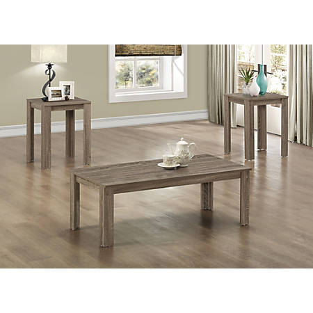 Monarch Specialties 3-Piece Coffee Table Set, Rectangle, Dark Taupe