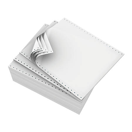 "Domtar Continuous Form Paper, 9 1/2"" x 11"", 4-Part Carbonless, White, Carton of 900 Sheets"