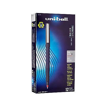 uni-ball® Rollerball™ Pens, Fine Point, 0.7 mm, 80% Recycled, Black Barrel, Red Ink, Pack Of 12 Pens