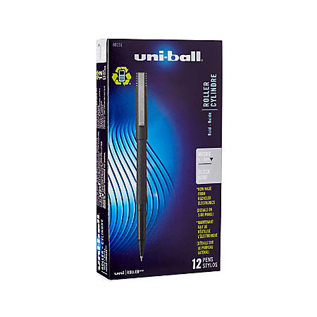 uni-ball® Rollerball™ Pens, Micro Point, 0.5 mm, 80% Recycled, Black Barrel, Black Ink, Pack Of 12 Pens