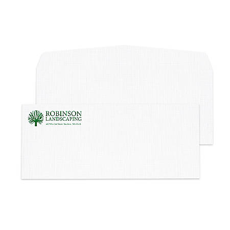 "Custom #10, 1-Color Raised Print Envelopes, 4-1/8"" x 9-1/2"", Bright White Linen, Box Of 250"